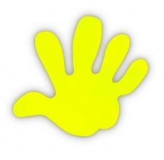 Adesivo riflettente MANO di colore giallo confezione da 5 pz