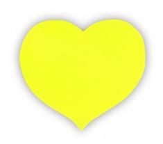 Adesivo riflettente cuore giallo, una confezione da 5 pz