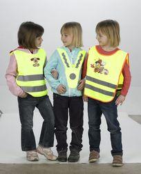Gilet riflettente per bambini  con orsacchiotto bianco con fragola
